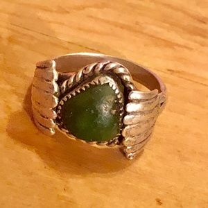 Navajo Sterling & Dark Green Turquoise Ring Size 8